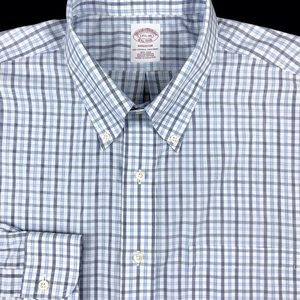 Brooks Brothers Mens Blue Check Button Down Non